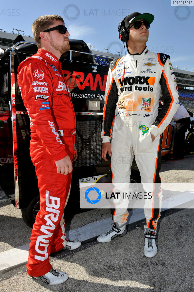 11-12 April, 2013, Fort Worth, Texas USA Justin Allgaier and Nelson Piquet Jr. ©2013, Nigel Kinrade LAT Photo USA