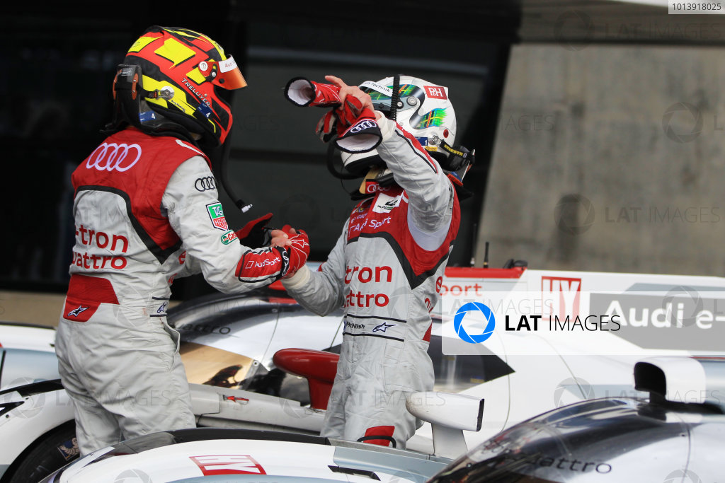 2013 FIA WEC Championship, Silverstone, Northamptonshire. 12th - 14th April 2013 . Benoit Treluyer  and  Allan McNish Audi R18 e-tron quattro World Copyright: Ebrey / LAT Photographic.