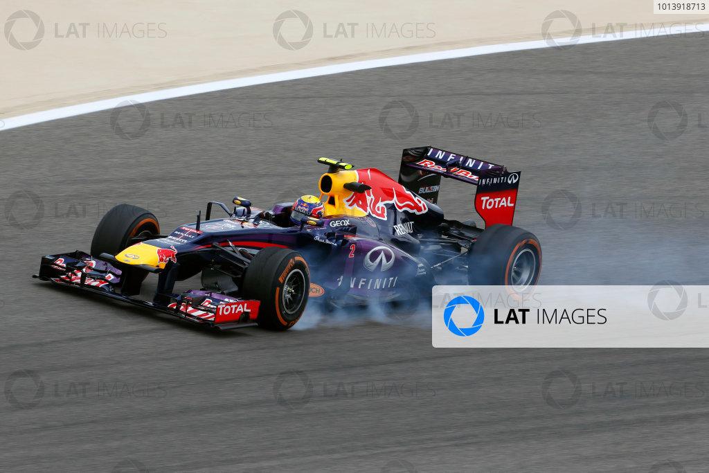 Bahrain International Circuit, Sakhir, Bahrain Friday 19th April 2013 Mark Webber, Red Bull RB9 Renault.  World Copyright: Charles Coates/LAT Photographic ref: Digital Image _N7T0498