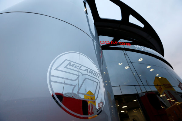 Circuit de Catalunya, Barcelona, Spain 10th May 2013 A 50th anniversary logo on the Motorhome. World Copyright: Charles Coates/LAT Photographic ref: Digital Image _N7T3336