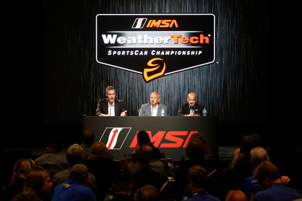 7-9 August, 2015, Elkhart Lake, Wisconsin, USA Ed Bennett, David MacNeil and Scott Atherton announce the IMSA WeatherTech SportsCar Championship ? 2015, Michael L. Levitt LAT Photo USA