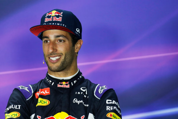 Hungaroring, Budapest, Hungary. Sunday 26 July 2015. Daniel Ricciardo, Red Bull Racing, 3rd Position, in the Press Conference. World Copyright: Alastair Staley/LAT Photographic ref: Digital Image _R6T9483
