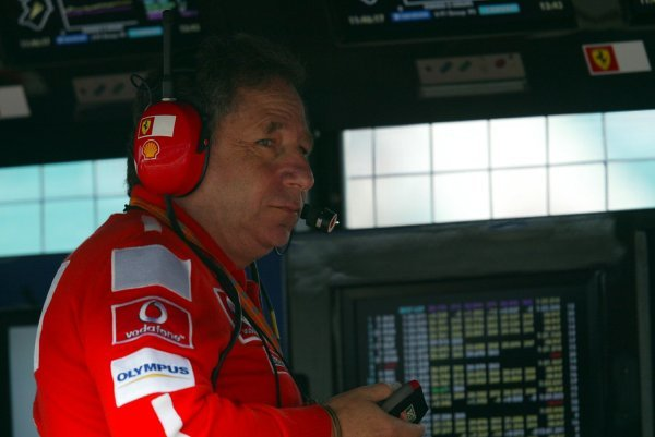 Jean Todt (FRA) Ferrari General Manager on the pit wall.