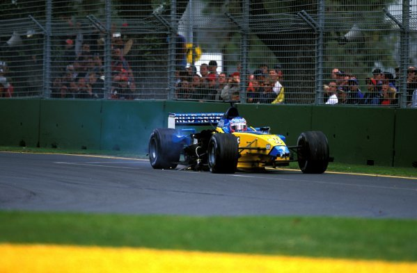 Jenson Button (GBR) Renault R202, retired on lap 1 after suffering serious damage in the first corner shunt. Formula One World Championship, Rd1, Australian Grand Prix, Albert Park, Melbourne, Australia, 3 March 2002. BEST IMAGE