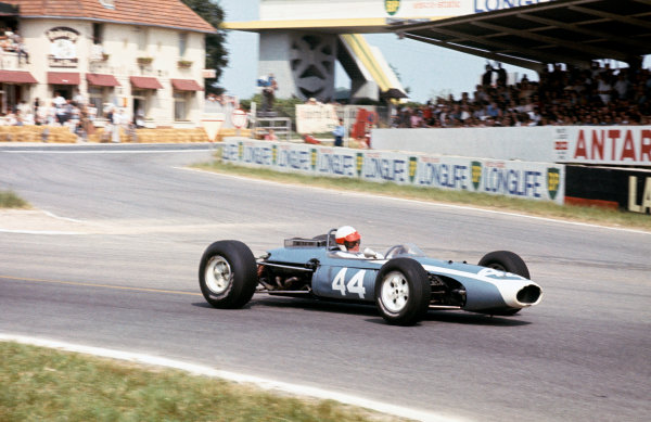 Reims, France.  1-3 July 1966.  John Taylor (Brabham BT11-B.R.M.), 6th position, action. World Copyright: LAT Photographic. Ref: 66FRA02.