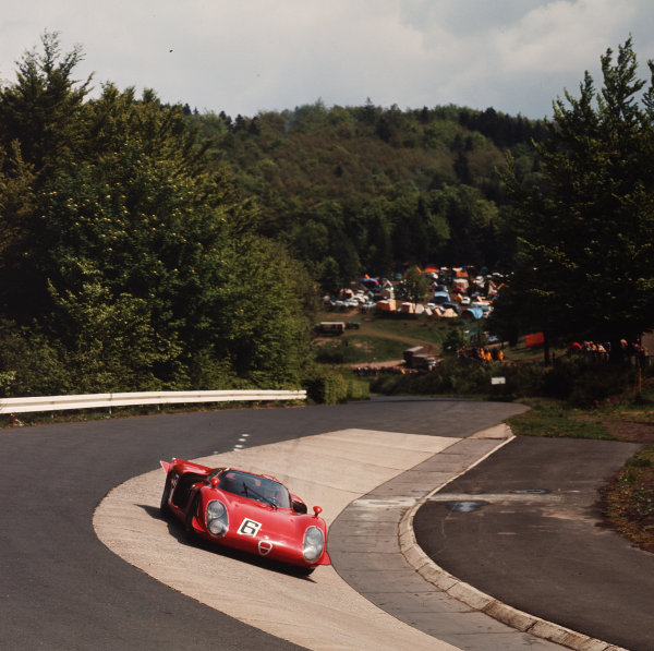 Nurburgring, Germany. 19th May 1968. Mario Casoni / Ignazio Giunti / Nino Vaccarella (Alfa Romeo T33/2), DNS, withdrawn, airbourne at the Brunchen leap during practice, action.  World Copyright: LAT Photographic. Ref: 3/3271.