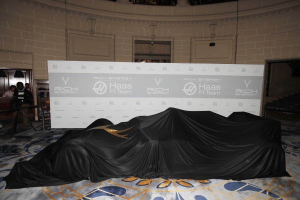 Haas car covered before the unveil