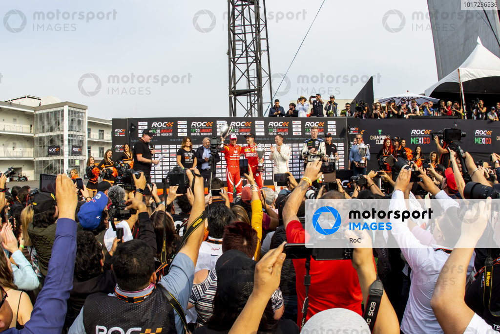 Runners up Sebastian Vettel (GER) and Mick Schumacher (GER) of Team Germany celebrate on the podium