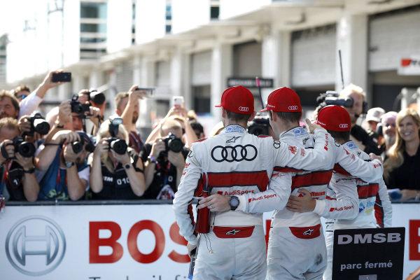 Top 3 after the race, Race winner Jamie Green, Audi Sport Team Rosberg, Robin Frijns, Audi Sport Team Abt Sportsline, René Rast, Audi Sport Team Rosberg.