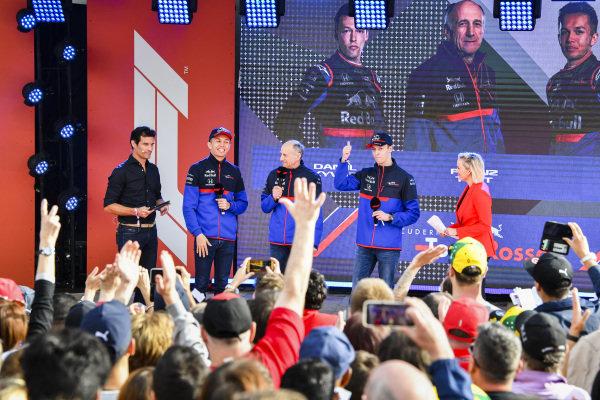 Mark Webber, Alexander Albon, Scuderia Toro Rosso, Franz Tost, Team Principal, Toro Rosso and Daniil Kvyat, Toro Rosso at the Federation Square event.