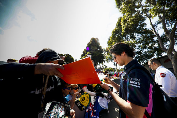 Lance Stroll, Racing Point signs autographs for fans