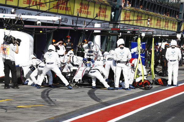 Felipe Massa (BRA) Williams FW40 pit stop at Formula One World Championship, Rd1, Australian Grand Prix, Race, Albert Park, Melbourne, Australia, Sunday 26 March 2017.