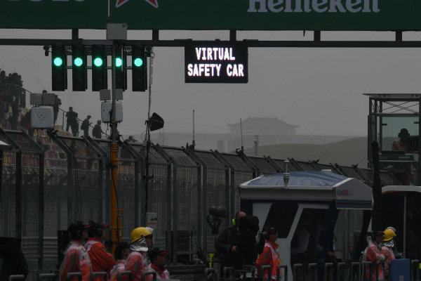 Virtual Safety car sign at Formula One World Championship, Rd2, Chinese Grand Prix, Practice, Shanghai, China, Friday 7 April 2017.