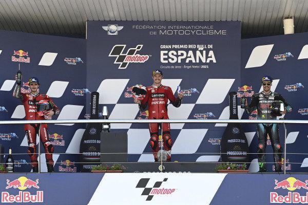 Podium: Race winner Jack Miller, Ducati Team, Francesco Bagnaia, Ducati Team, Franco Morbidelli, Petronas Yamaha SRT.