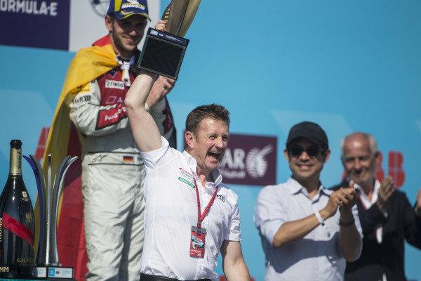 Allan McNish, Team Principal, Audi Sport Abt Schaeffler, celebrates.
