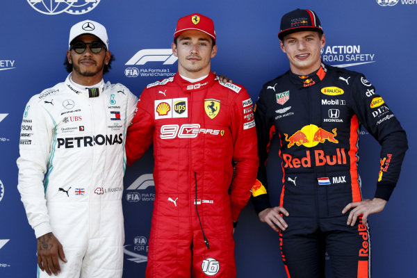 Lewis Hamilton, Mercedes AMG F1, Pole Sitter Charles Leclerc, Ferrari and Max Verstappen, Red Bull Racing in Parc Ferme