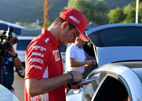 Charles Leclerc, Ferrari leaves the track after talking to the stewards regarding a possible penality including Max Verstappen, Red Bull Racing.  Charles was then called back incase the stewards had any other questions