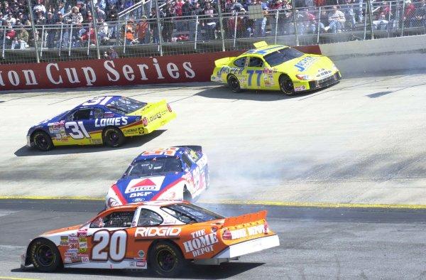 2001,NASCAR,March24-25,Bristol,Tn ,WinstonCup,2001Robert Pressly(77) Mike Skinner(31)Tony Stewart(20) and Jeff Burton Spinning-Robert LeSieur2001,LAT Photographic