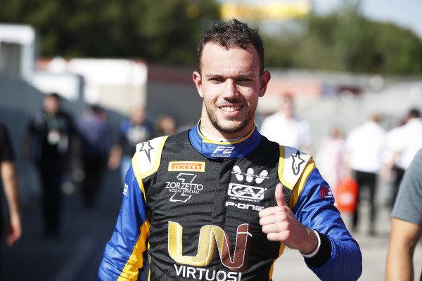 Luca Ghiotto (ITA, UNI VIRTUOSI), celebrates after taking Pole Position