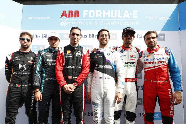 Antonio Felix da Costa (PRT), DS Techeetah, DS E-Tense FE20, Mitch Evans (NZL), Panasonic Jaguar Racing, Jaguar I-Type 4, Sébastien Buemi (CHE), Nissan e.Dams, Nissan IMO2, Alexander Sims (GBR) BMW I Andretti Motorsports, BMW iFE.20, Lucas Di Grassi (BRA), Audi Sport ABT Schaeffler, Audi e-tron FE06, and Jérôme d'Ambrosio (BEL), Mahindra Racing, M6Electro
