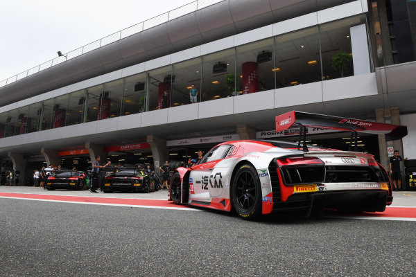 Audi R8 cars line-up in the Pitlane ready for qualifying at Audi R8 LMS Cup, Rd7 and Rd8, Shanghai, China, 8-10 September 2017.