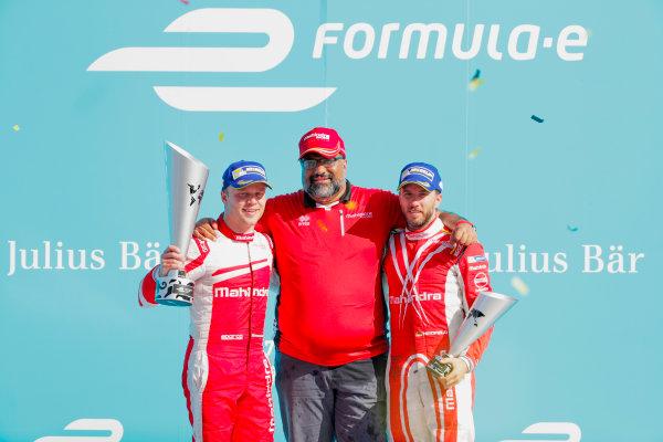 2016/2017 FIA Formula E Championship. Round 7 - Berlin ePrix, Tempelhof Airport, Berlin, Germany. Saturday 10 June 2017. Felix Rosenqvist (SWE), Mahindra Racing, Spark-Mahindra, Mahindra M3ELECTRO, Dilbagh Gill and Nick Heidfeld (GER), Mahindra Racing, Spark-Mahindra, Mahindra M3ELECTRO, on the podium. Photo: Zak Mauger/LAT/Formula E ref: Digital Image _54I7789
