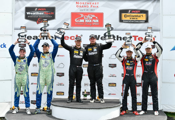 IMSA Continental Tire SportsCar Challenge Lime Rock Park 120 Lime Rock Park, Lakeville, CT USA Saturday 22 July 2017  27, Mazda, Mazda MX-5, ST, Britt Casey Jr, Matt Fassnacht, 25, Mazda, Mazda MX-5, ST, Chad McCumbee, Stevan McAleer, 84, BMW, BMW 328i, ST, James Clay, Tyler Cooke World Copyright: Richard Dole LAT Images ref: Digital Image RD_LRP_17_01180