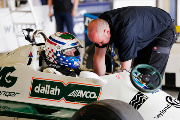 Williams 40 Event Silverstone, Northants, UK Friday 2 June 2017. A driver prepares for a run in a Carlos Reutemann Williams FW07b. World Copyright: Zak Mauger/LAT Images ref: Digital Image _54I0031