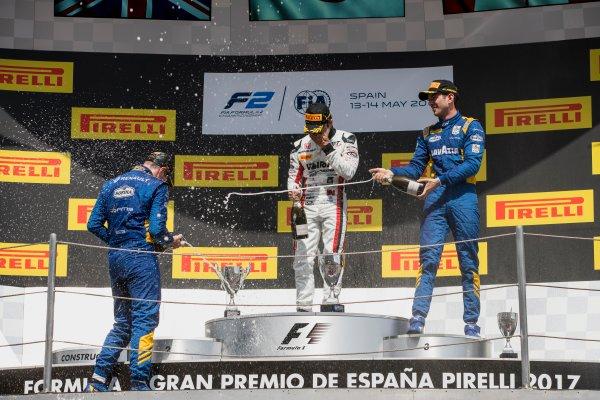 2017 FIA Formula 2 Round 2. Circuit de Catalunya, Barcelona, Spain. Sunday 14 May 2017. Oliver Rowland (GBR, DAMS), Nobuharu Matsushita (JPN, ART Grand Prix), Nicholas Latifi (CAN, DAMS)  Photo: Zak Mauger/FIA Formula 2. ref: Digital Image _56I0272