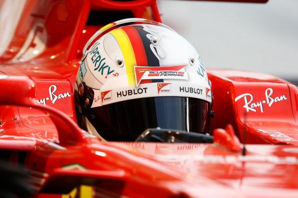 Bahrain International Circuit, Sakhir, Bahrain.  Wednesday 19 April 2017. Sebastian Vettel, Ferrari SF70H.  World Copyright: Glenn Dunbar/LAT Images ref: Digital Image _X4I4766