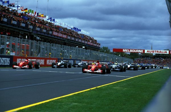 The cars watch the lights ready for the start of the race.