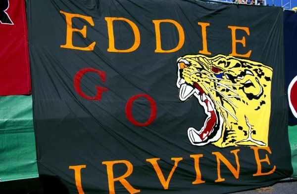 A message of support from an Eddie Irvine (GBR) Jaguar fan.