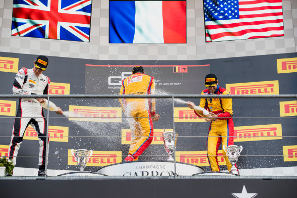 2017 GP3 Series Round 5.  Spa-Francorchamps, Spa, Belgium. Sunday 27 August 2017. George Russell (GBR, ART Grand Prix), Giuliano Alesi (FRA, Trident), Ryan Tveter (USA, Trident).  Photo: Zak Mauger/GP3 Series Media Service. ref: Digital Image _56I3103