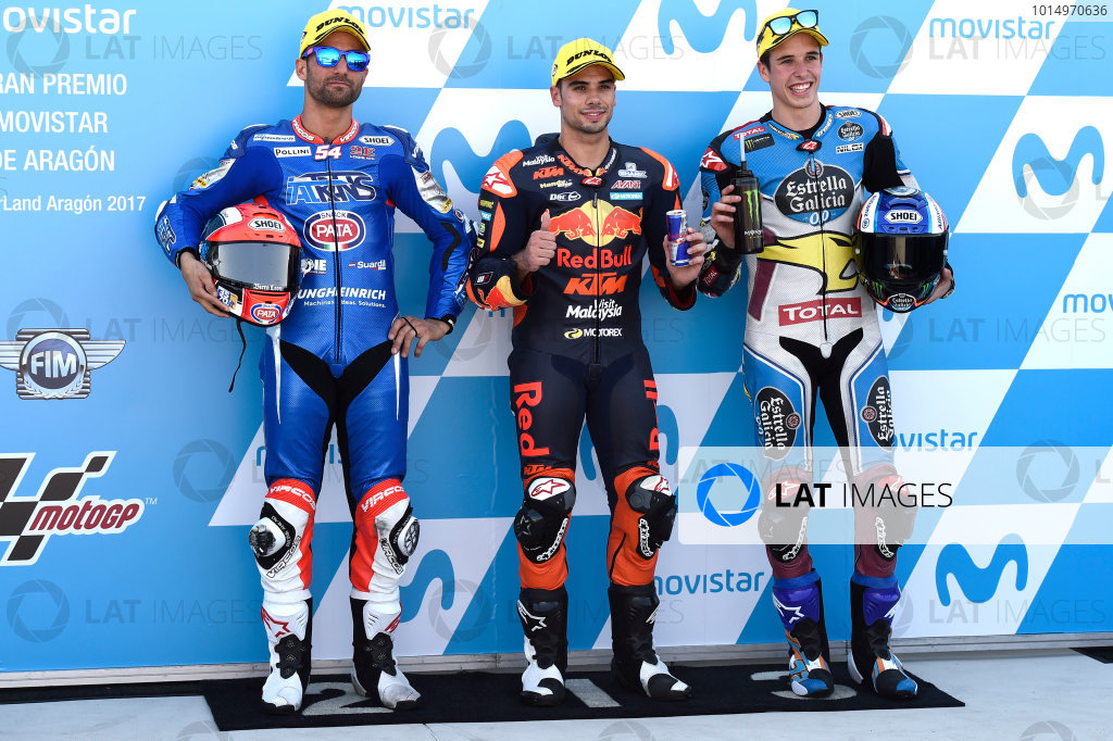 2017 Moto2 Championship - Round 14 Aragon, Spain. Saturday 23 September 2017 Mattia Pasini, Italtrans Racing Team, Miguel Oliveira, Red Bull KTM Ajo, Alex Marquez, Marc VDS World Copyright: Gold and Goose / LAT Images ref: Digital Image 13880