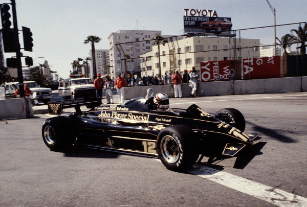 1982 United States Grand Prix West.Long Beach, California, USA.2-4 April 1982.Nigel Mansell (Lotus 91 Ford) 7th position.Ref-82 LB 45.World Copyright - LAT Photographic