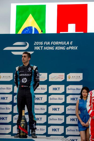 2016/2017 FIA Formula E Championship. Hong Kong ePrix, Hong Kong, China. Sunday 9 October 2016. Sebastien Buemi (SUI), Renault e.Dams, Spark-Renault, Renault Z.E 16.  Photo: Zak Mauger/LAT/Formula E ref: Digital Image _X0W2877