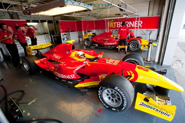 Jerez, Spain. Thursday 8th October. Jerome d' Ambrosio (BEL, Fat Burner Racing Engineering) and Dani Clos (ESP, Fat Burner Racing Engineering). World Copyright: Alastair Staley/ GP2 Series Media Service.Ref: _P9O5726 jpg