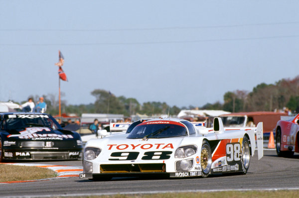 Daytona 24 hours, Florida, USA. 1st - 2nd February 1992.Rocky Moran/P. J. Jones/Mark Dismore (Eagle MkIII Toyota), 4th position, action. World Copyright: LAT PhotographicRef: 92IMSADAY05