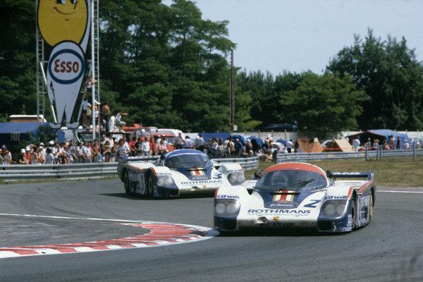 1982 Le Mans 24 hours. Le Mans, France. 19th - 20th June 1982. Jochen Mass/Vern Schuppan (Porsche 956), 2nd position leads Hurley Haywood/Al Holbert/Jurgen Barth (Porsche 956), 3rd position, action. World Copyright: LAT Photographic. Ref: 82LM04.