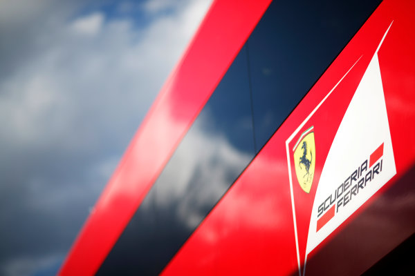 Red Bull Ring, Spielberg, Austria. Friday 19 June 2015. Scuderia Ferrari logo on their motorhome. World Copyright: Alastair Staley/LAT Photographic. ref: Digital Image _R6T0815
