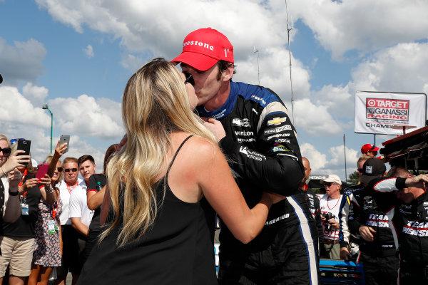 29-31 July, 2016, Lexington, Ohio USA Simon Pagenaud gets a kiss from girlfriend Hailey McDermott ?2016, Michael L. Levitt LAT Photo USA
