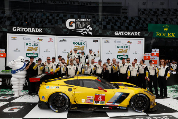 28-31 January, 2016, Daytona Beach, Florida USA , 4, Chevrolet, Corvette C7, GTLM, Oliver Gavin, Tommy Milner, Marcel Fassler, podium ?2016, Michael L. Levitt LAT Photo USA