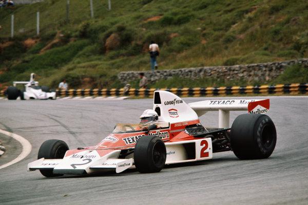 1975 Brazilian Grand Prix  Interlagos, Sao Paulo, Brazil. 24-26th January 1975.  Jochen Mass, McLaren M23 Ford, 3rd position.  Ref: 75BRA10. World copyright: LAT Photographic