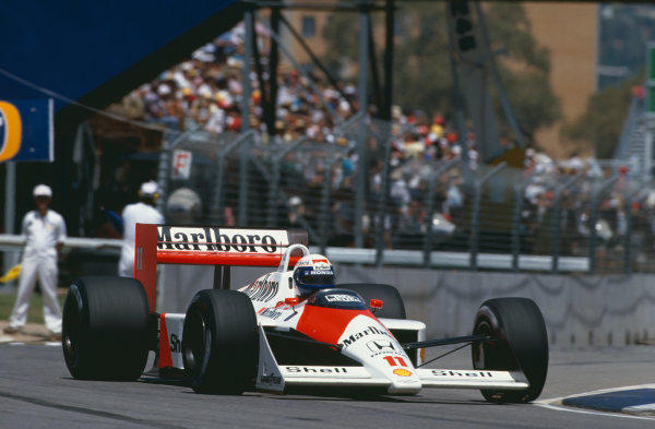 1988 Australian Grand Prix. Adelaide, Australia. 11th - 13th November 1988. Alain Prost (McLaren MP4/4-Honda), 1st position, action. World Copyright: LAT Photographic.  Ref:  88AUS
