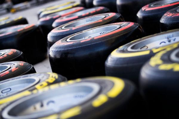 2017 FIA Formula 2 Round 11. Yas Marina Circuit, Abu Dhabi, United Arab Emirates. Thursday 23 November 2017. Pirelli tyres Photo: Sam Bloxham/FIA Formula 2. ref: Digital Image _J6I0919