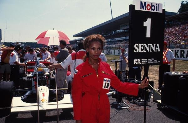 Ayrton Senna's grid girl. German Grand Prix, Hockenheim, 26 July 1992