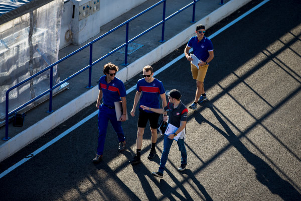 2017 FIA Formula 2 Round 10. Circuito de Jerez, Jerez, Spain. Thursday 5 October 2017. Ryan Tveter (USA, Trident), Dorian Boccolacci (FRA, Trident), Santino Ferrucci (USA, Trident).  Photo: Zak Mauger/FIA Formula 2. ref: Digital Image _X0W9290