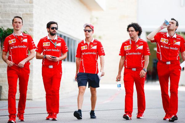 Circuit of the Americas, Austin, Texas, United States of America. Thursday 19 October 2017. Sebastian Vettel, Ferrari, with his team. World Copyright: Andy Hone/LAT Images  ref: Digital Image _ONZ5309