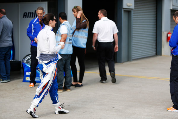 FIA Formula E Test Day, Donington Park, UK.  3rd - 4th July 2014.  Katherine Legge, Amlin Aguri. Photo: Zak Mauger/FIA Formula E ref: Digital Image _L0U4451