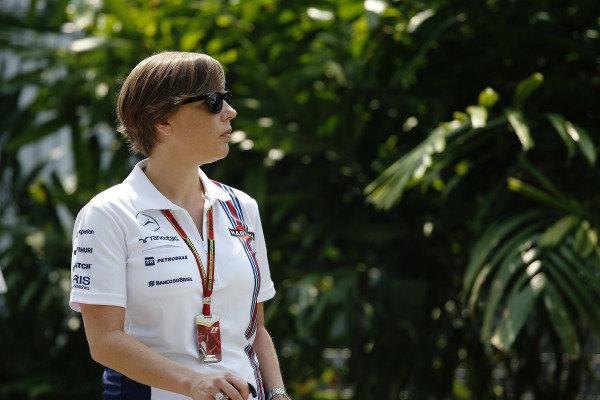Marina Bay Circuit, Singapore. Sunday 21 September 2014. Claire Williams, Deputy Team Principal, Williams F1. World Copyright: Charles Coates/LAT Photographic. ref: Digital Image _N7T4138